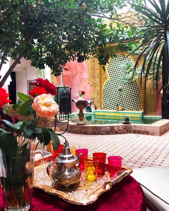 Thé de bienvenue dans le patio