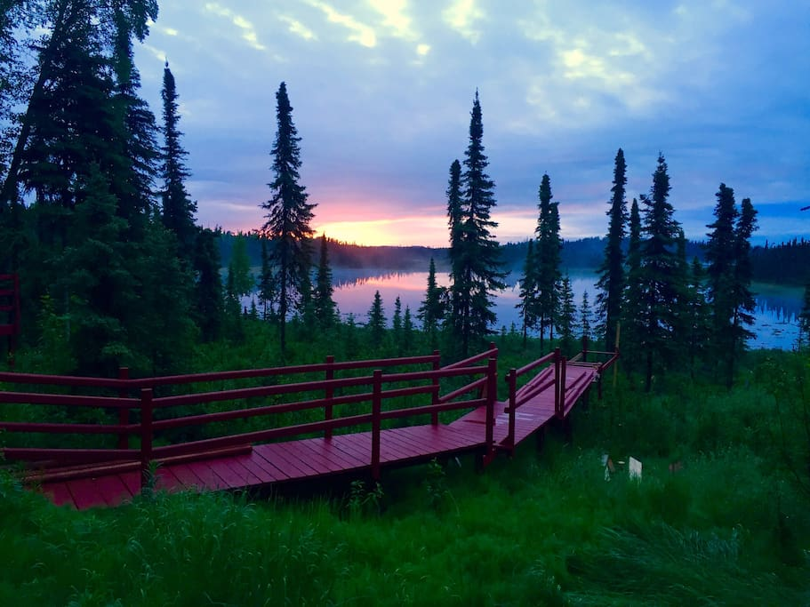 4:30 am morning sunrise. Summer Solstice June 21, 2017. The view out of the cottage and cabin.