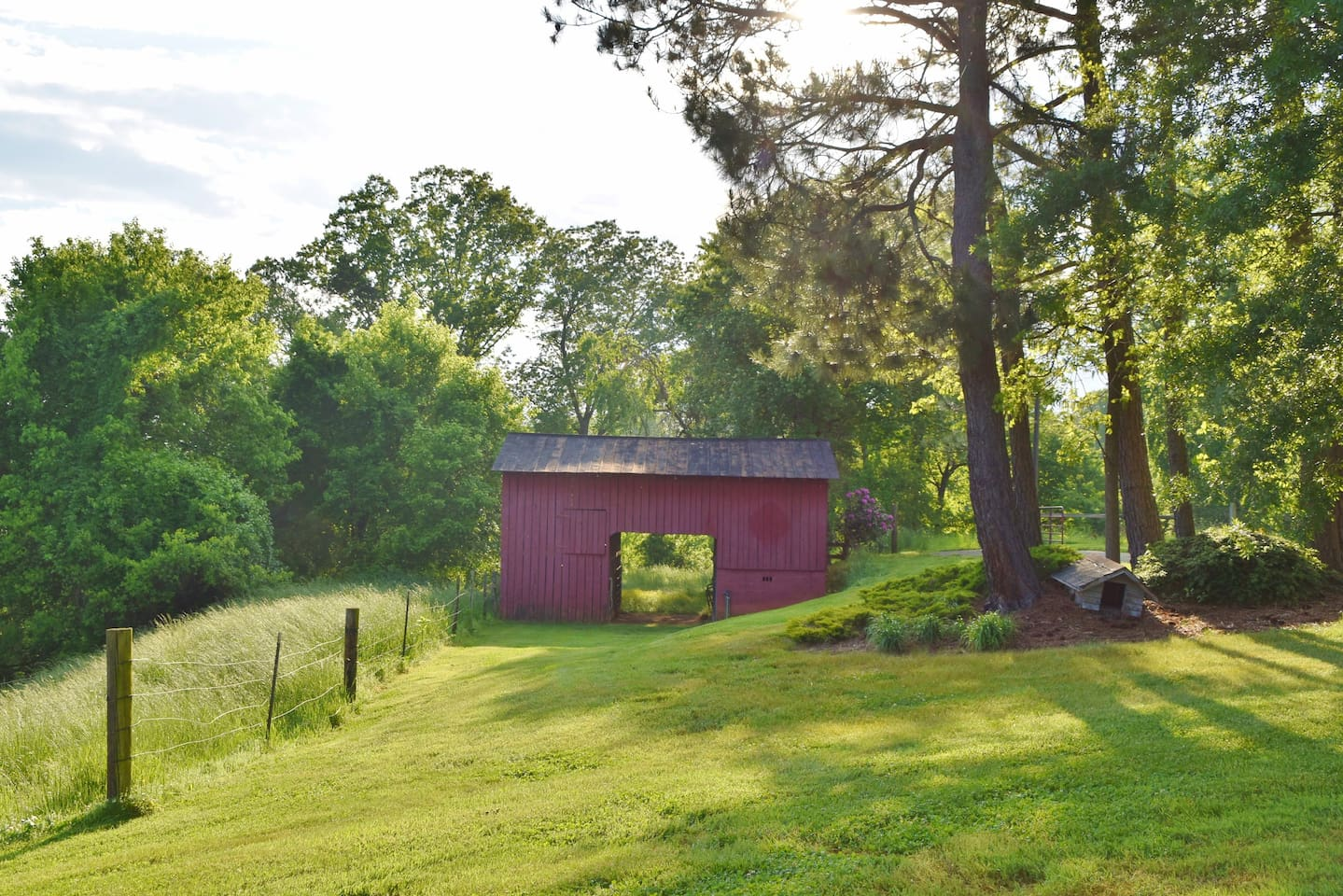 Beautiful view of barn off back porch.