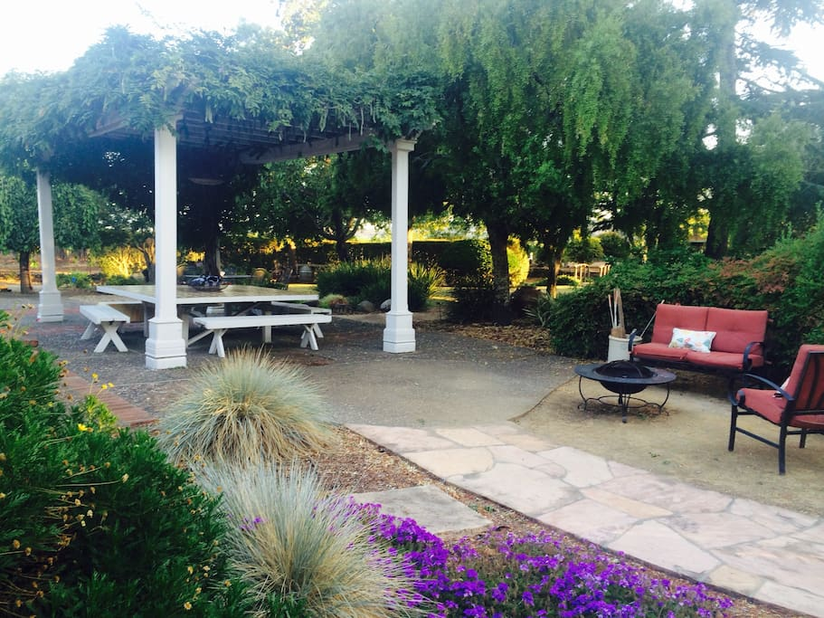 Outside pergola, table seats 16p and fire pit area