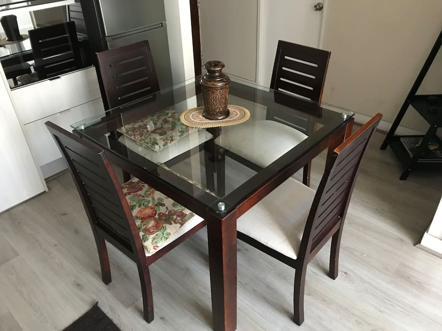 Beautiful glass table.