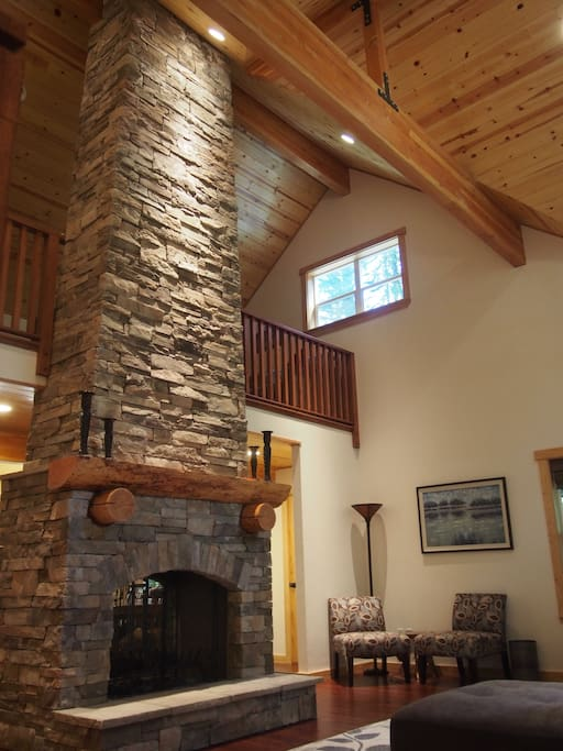 Two story, double sided fireplace