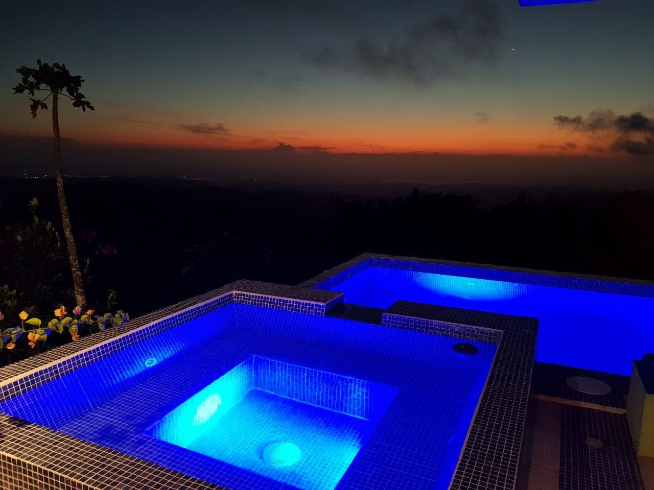 Hot Tub and Pool after an amazing sunset