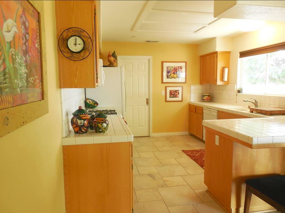 Full, sunny kitchen