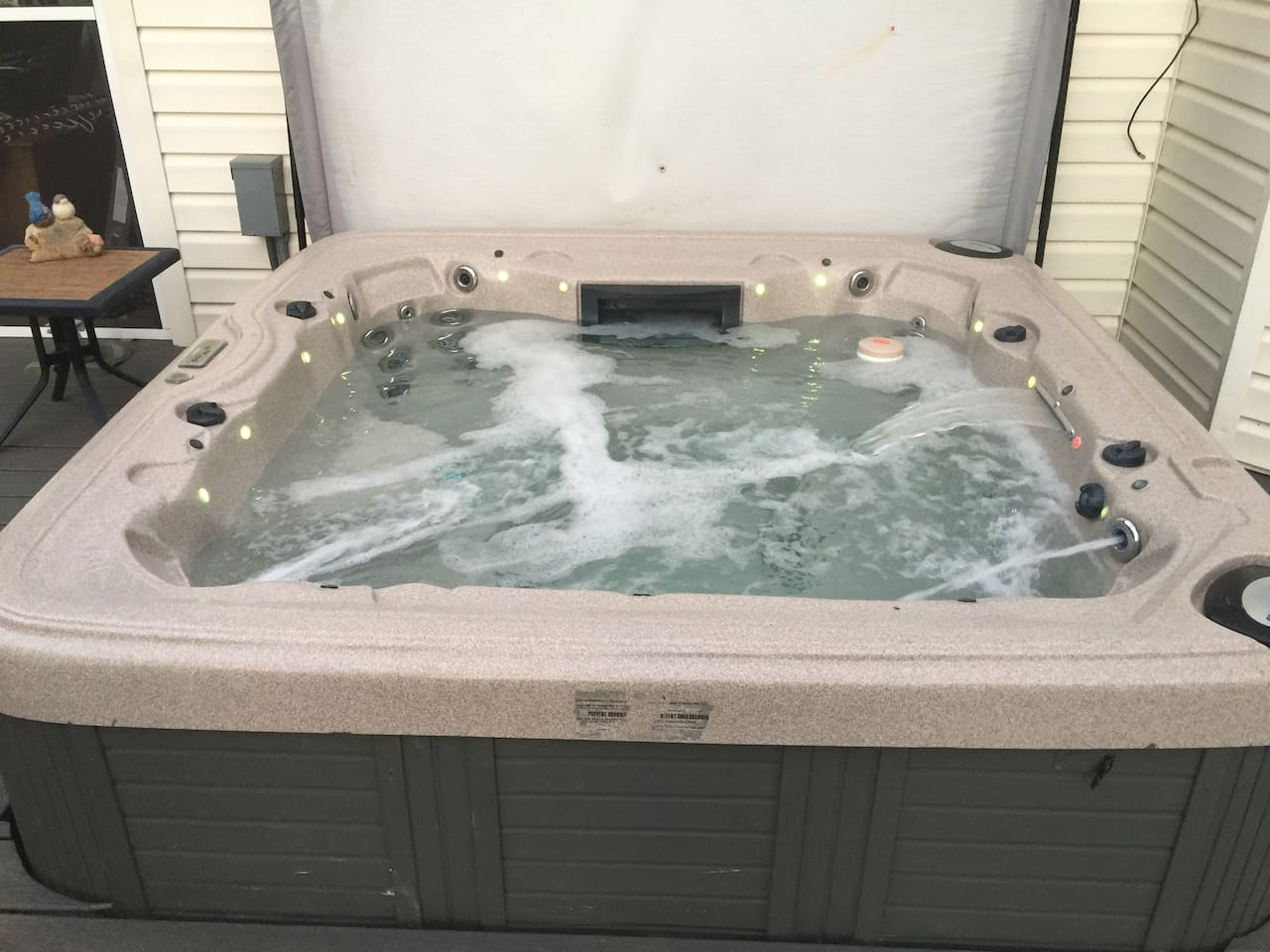 Soak in private hot tub after a fun filled day at the lake.