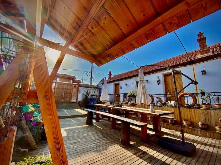 长岛砣矶岛小清新木屋风格民宿 独立卫生间 前后大花园 可出海海钓