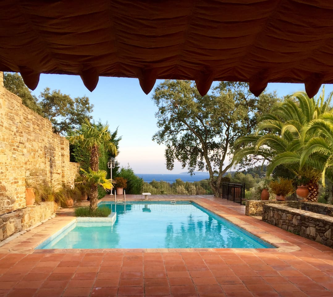 Terrace with pool and sea view