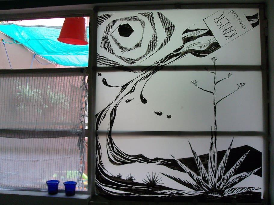 Art work specially designed  for the bedroom glass door.