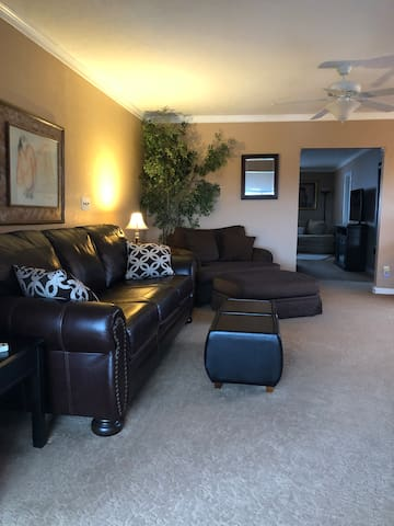 From your formal entry to a separate Den area with large screen TV, Direct TV connected, ample seating.  OR..... need a second bedroom, this features a Queen pull out with memory foam mattress.