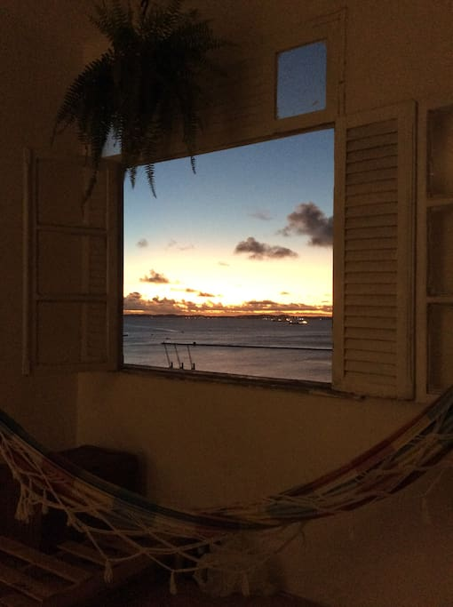 Living room with two hammocks