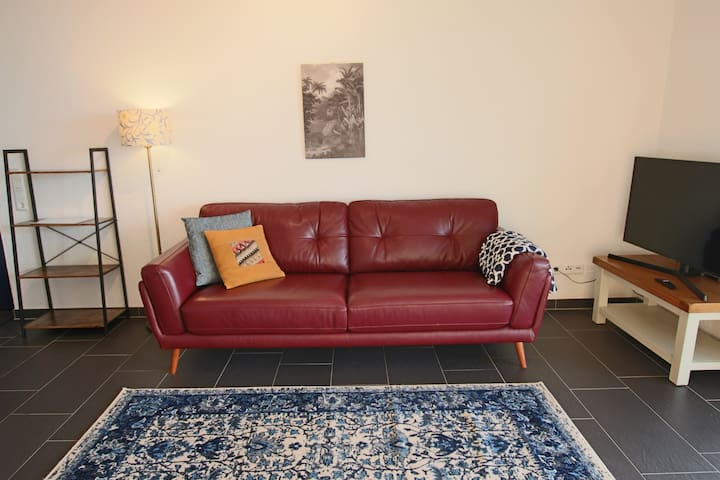 Comfy and stylish leather couch.