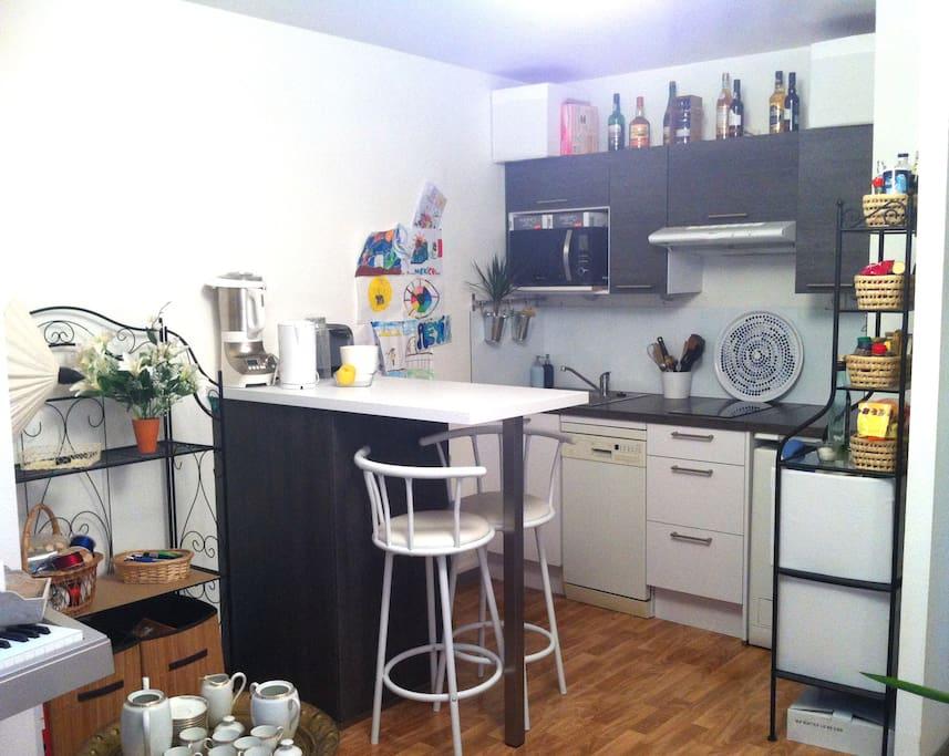 Cuisine équipée (frigo, lave-vaisselle, four/micro-ondes, lave-linge, plaques induction)