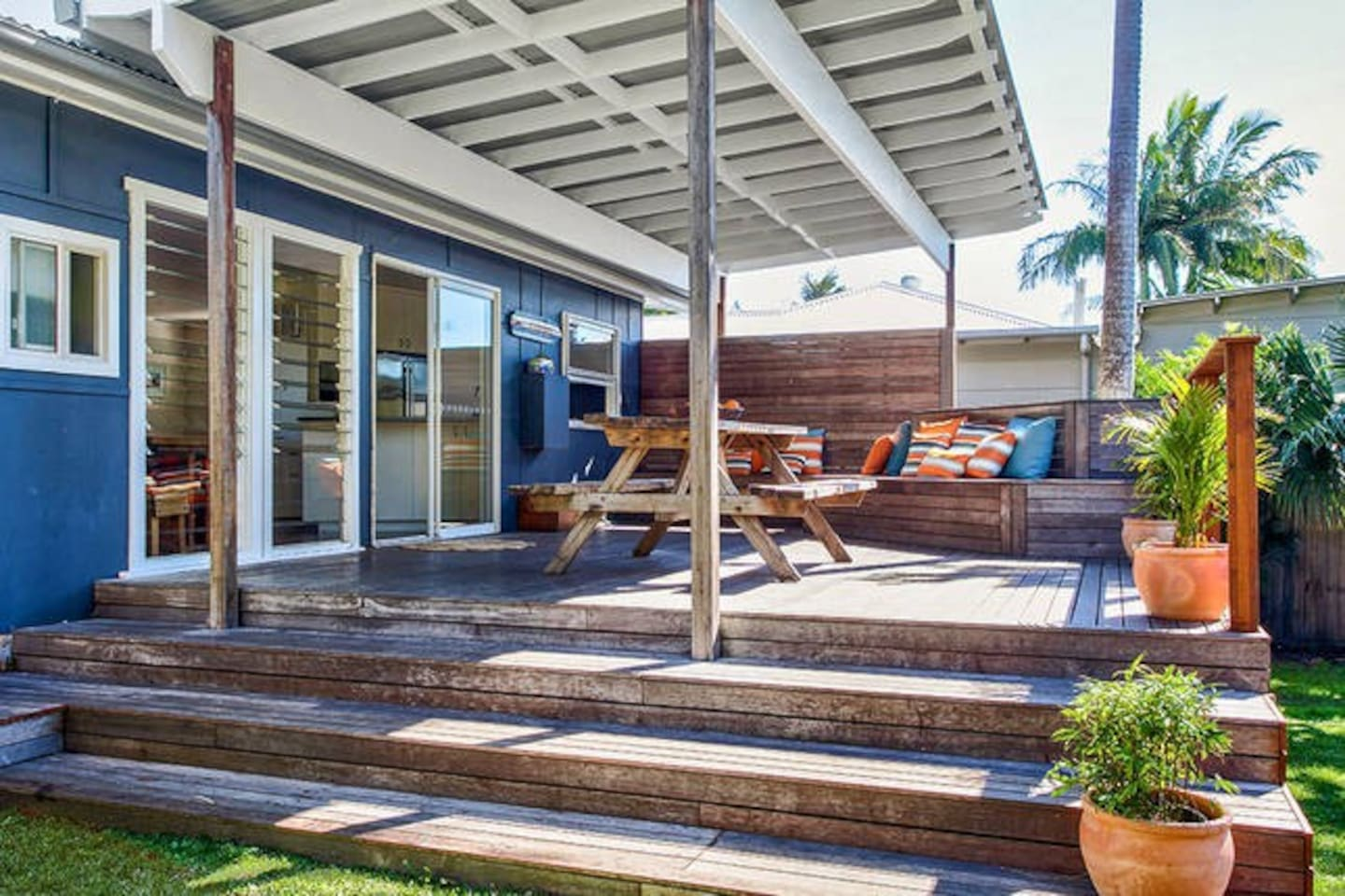Covered north facing deck overlooking the back yard. Perfect for outdoor dining or relaxing.