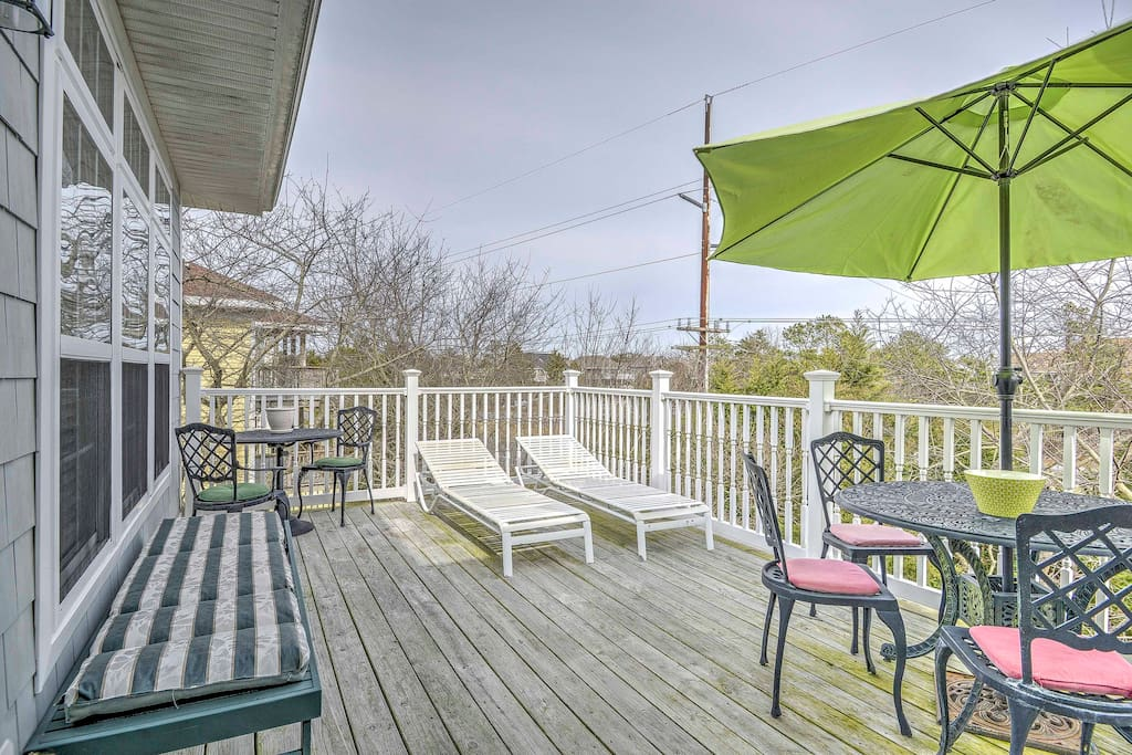 Enjoy spending your days lounging and sunbathing on the large upstairs deck.