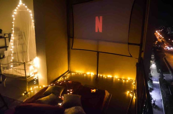 Balcony Home Theater with NETFLIX @TAMARIND SQ