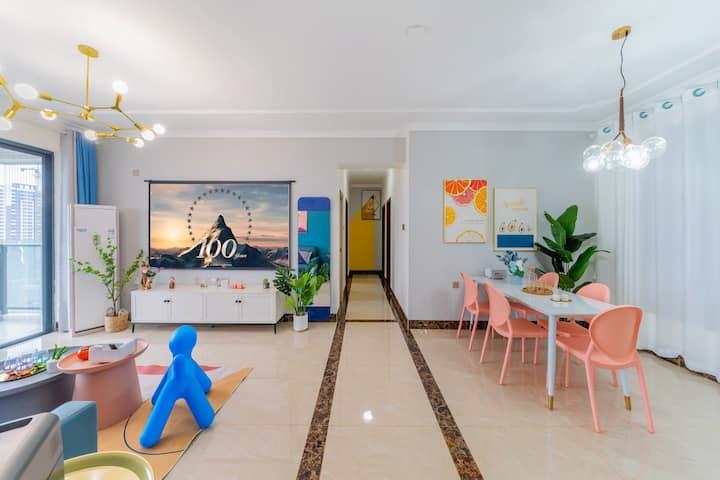 【小明星】金沙湾观海长廊/巨幕投影/北欧复古混搭摩洛哥风大三居两厅两卫两阳台/乳胶舒适大床