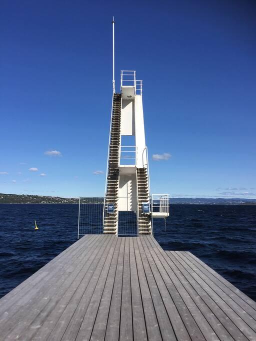 15 minutter med bil til Ingierstrand bad ved Oslofjorden.