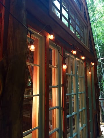 West side with string lights and vintage French doors.