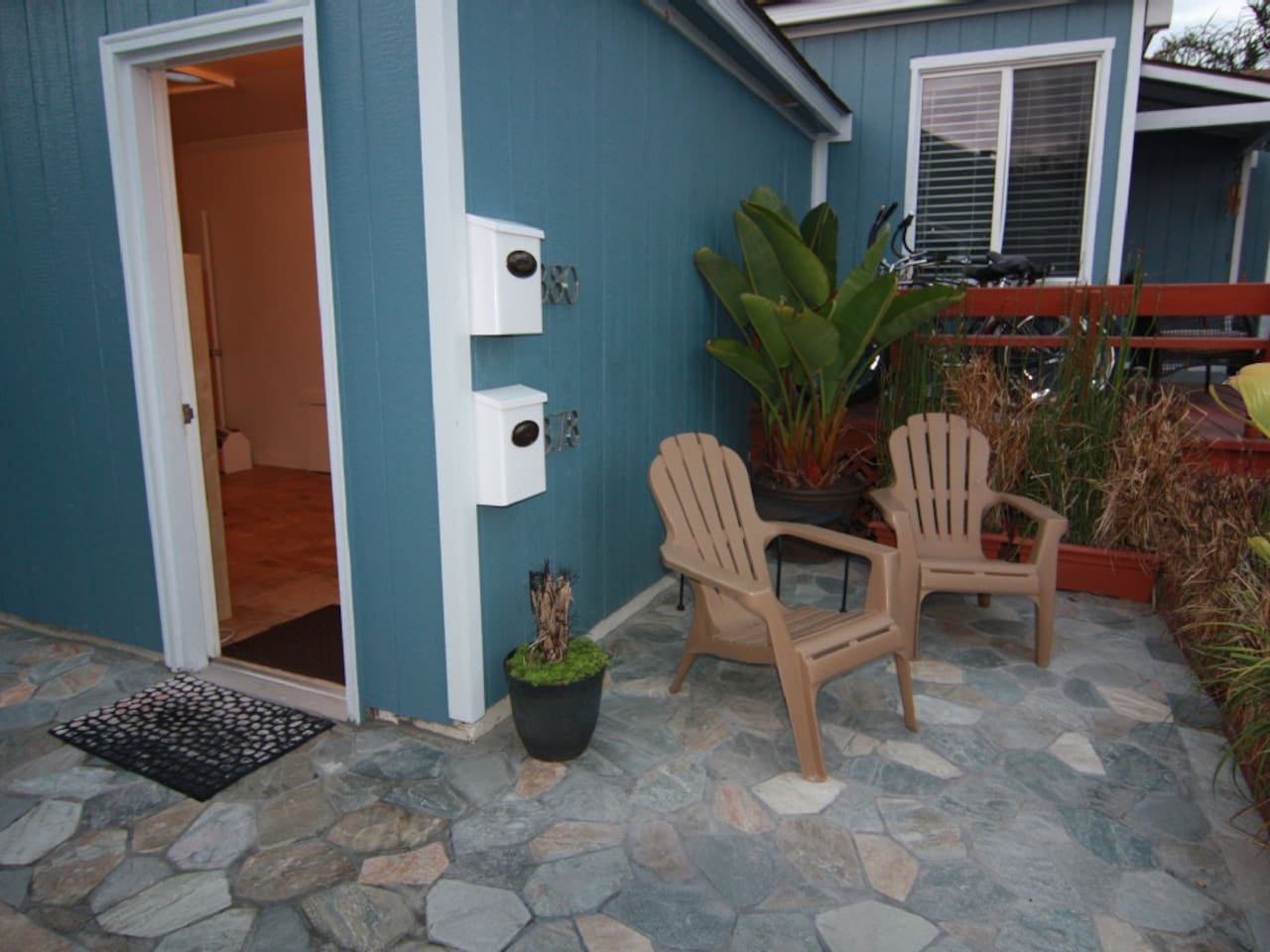 Front Patio of the Tourmaline Beach Studio