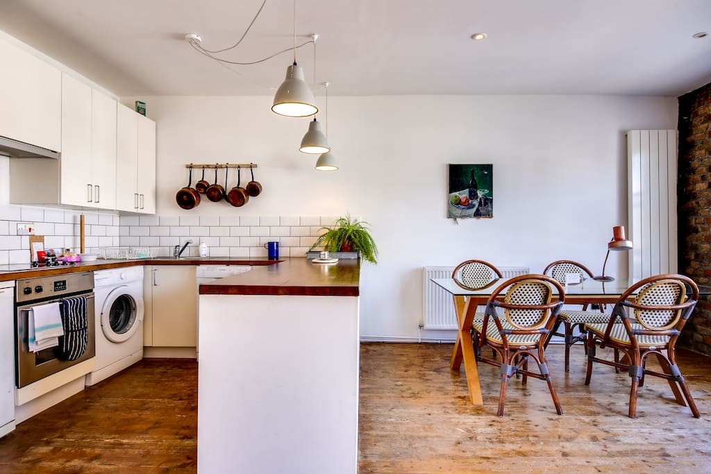 A trendy living area and open-plan kitchen...