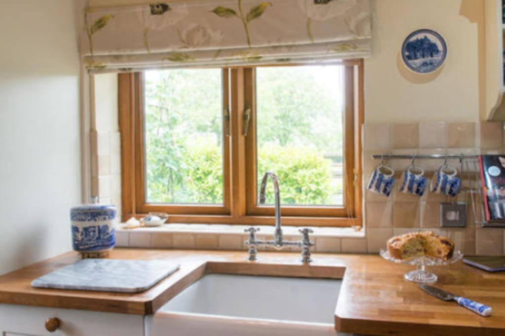 Kitchen with view of Race Horses