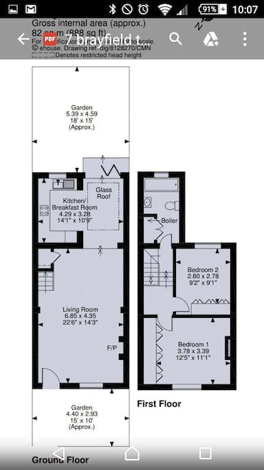 Floor plan.  Bedroom to rear.