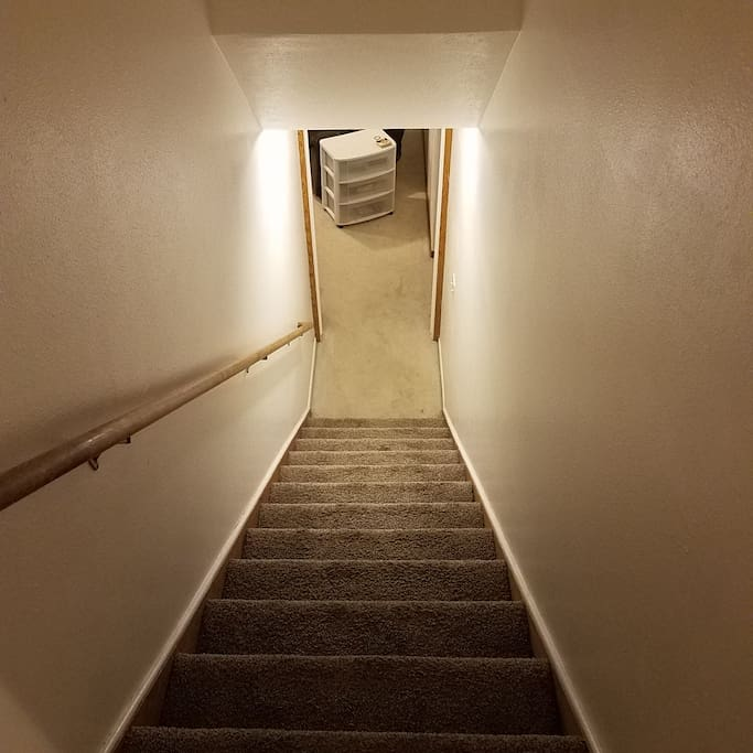 Stairs to basement area