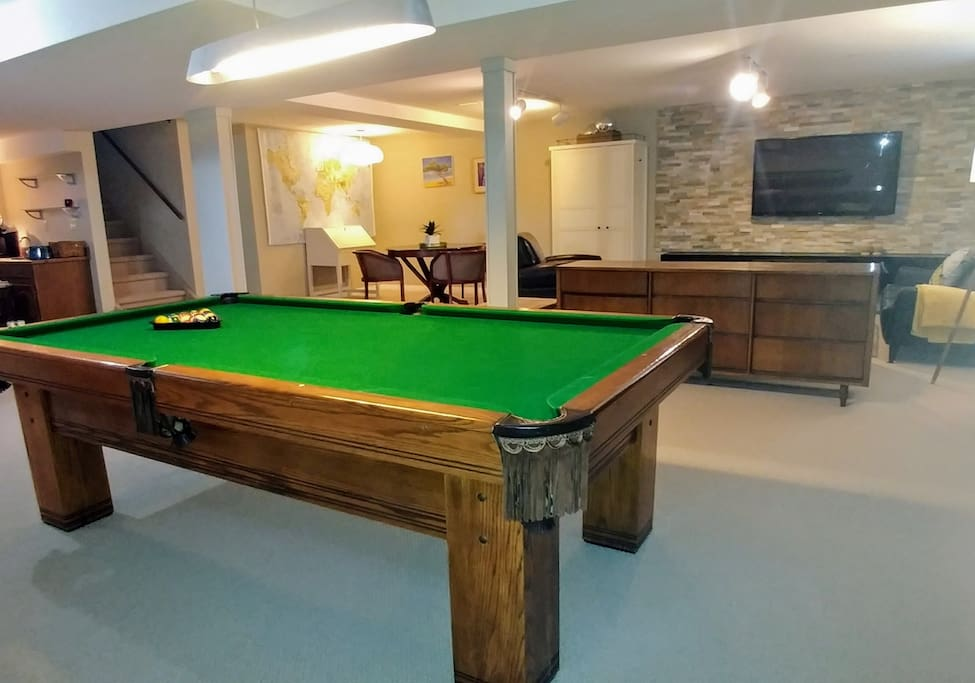 Pool table and games table (in the background). Bring your laptop do some work with wifi or play some board games.