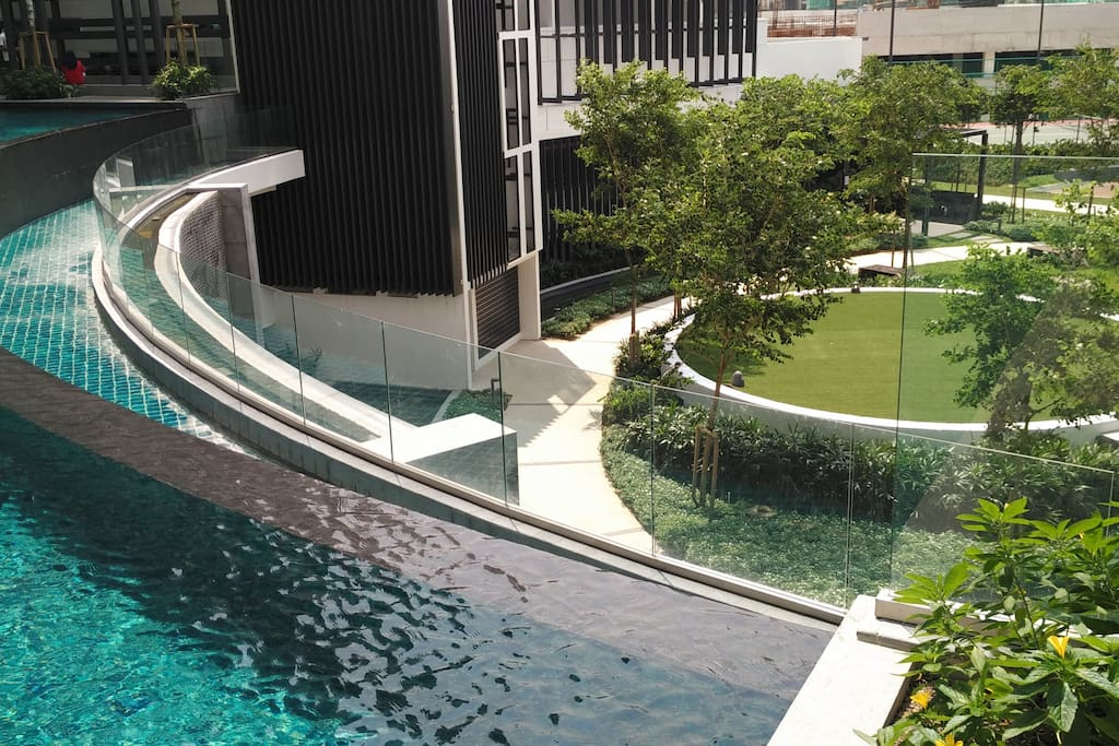 Infinity pool with private spacious garden