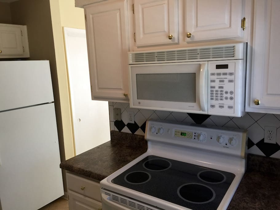 Full  kitchen includes full size refrigerator and Stove, Oven, microwave