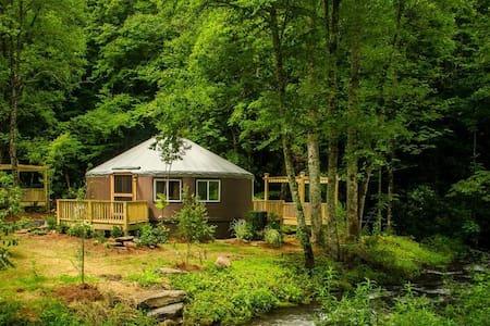 Creekside 2 Bedrm Luxury Yurt w/hot tub & fire pit