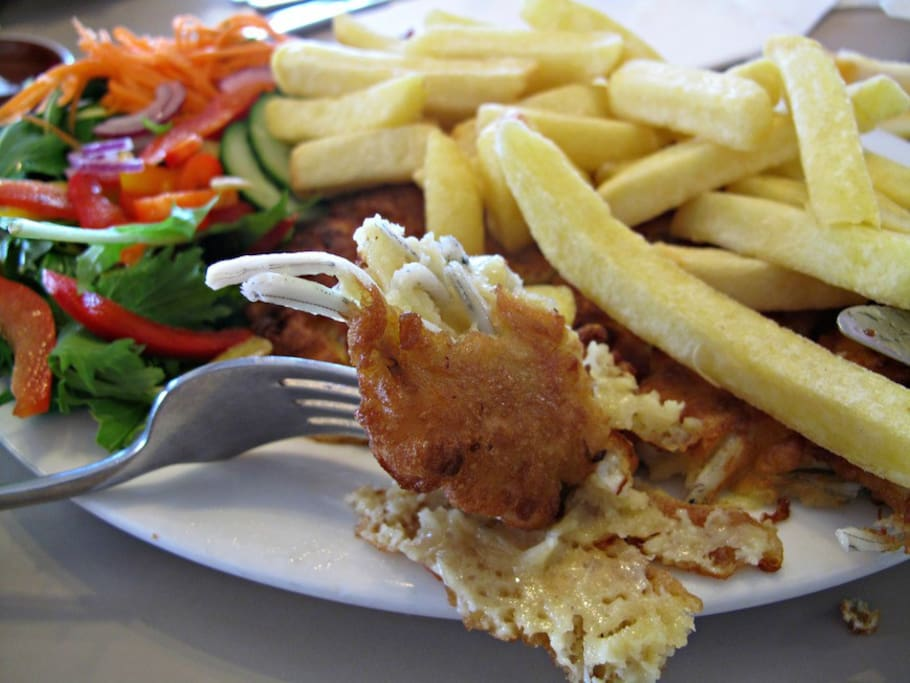 West Coast Whitebait Meal : White bait fritters,salad,chips  $25.00 per person all meals need to be pre-booked with accommodation.