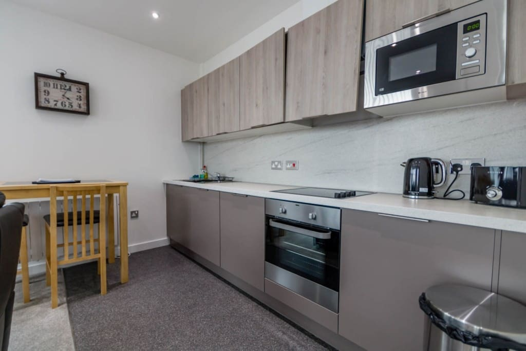 Well equipped kitchen with washer/dryer