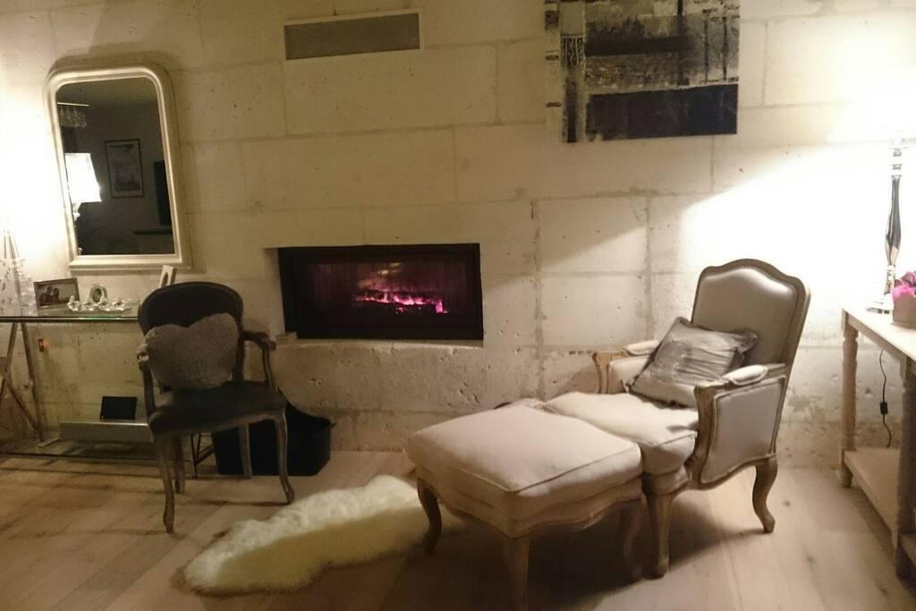 Salon coin cheminée