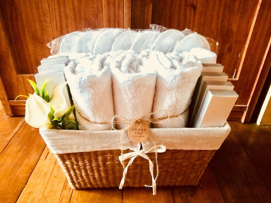 Our Welcome Basket for our guests. It consists of towels, indoor slippers and guest amenity kits for every person. We make sure your stay with us is as comfortable as possible..A Home Away from Home!