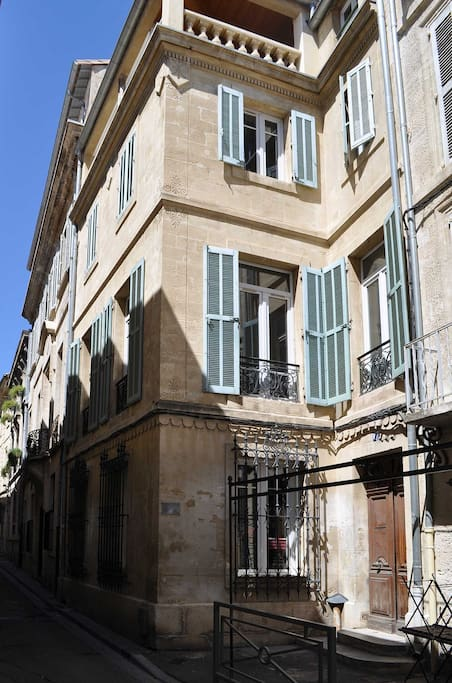 The apartment is on the first floor (second floor US) in a quiet street half a minute's walk to central Place de l'Horloge