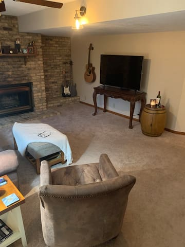 Comfortable private living room with smart TV