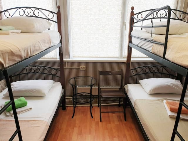 Sleeping place. Astra hostel on Arbat near metro Arbatskaya and Kropotkinskaya, Arbat district, in the heart of Moscow.