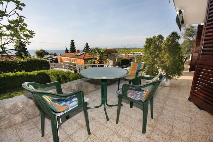 Studio flat with terrace and sea view Njivice, Krk (AS-5325-a)