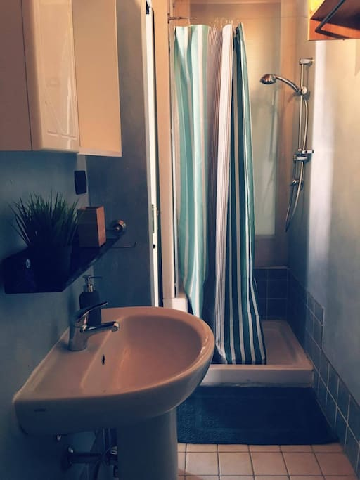 The bathroom is small but clean and nice!