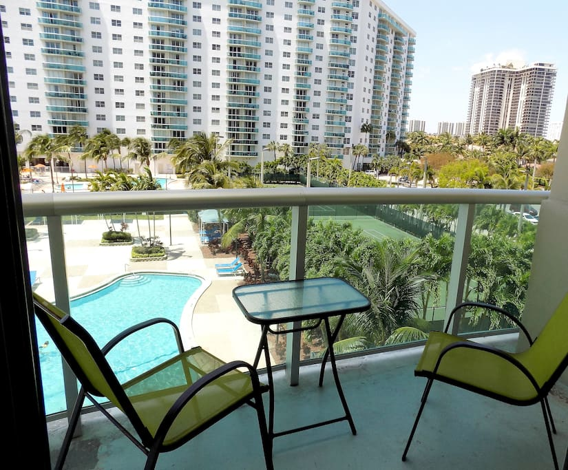 Enjoy Pool & Garden Views from your Private Balcony
