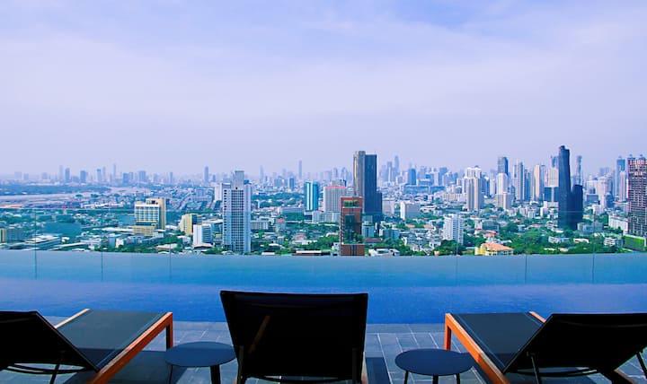 长租特惠!Ekkamai BTS/Gateway商场/曼谷大学/无边泳池/健身房