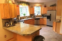 Large kitchen with many amenities