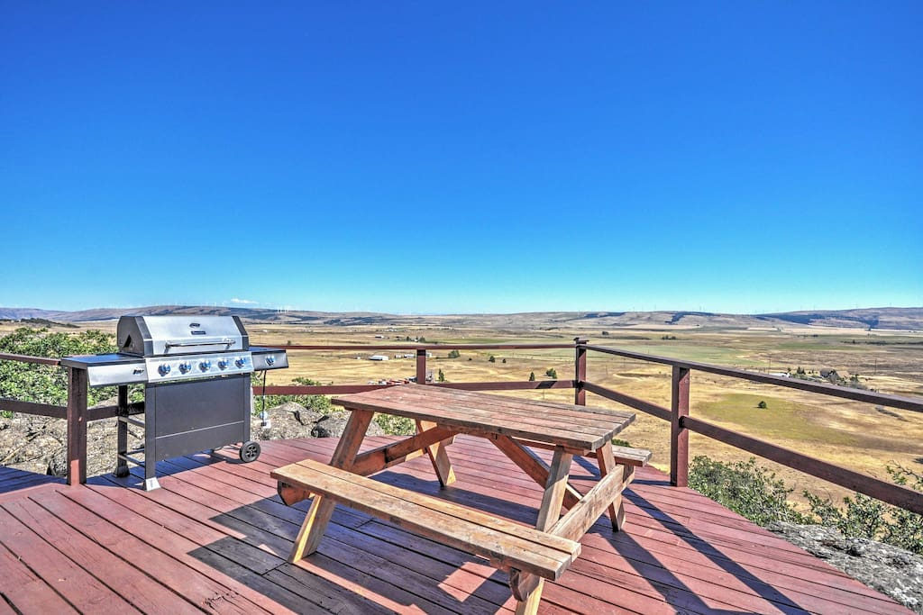 Admire fantastic views from the private deck.