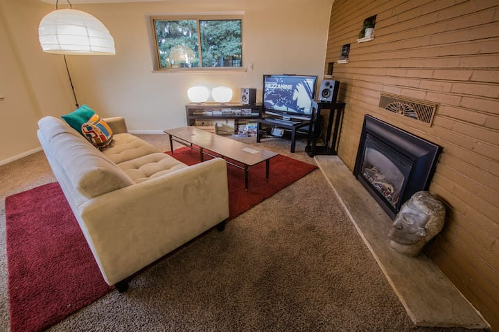The Living Room with gas fireplace.