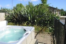 Relax after your journey in our private garden spa