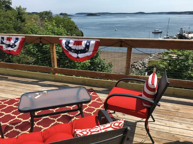 Back deck with bay view ready for July 4th.