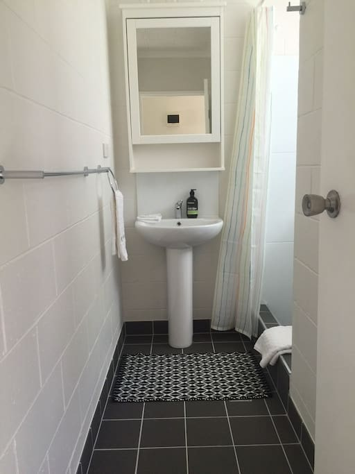 Bathroom has emergency toiletries and larger shower along with a separate toilet.