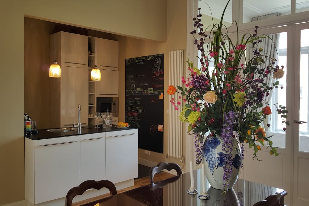 Fully Equipped Open Kitchen  with large dining area