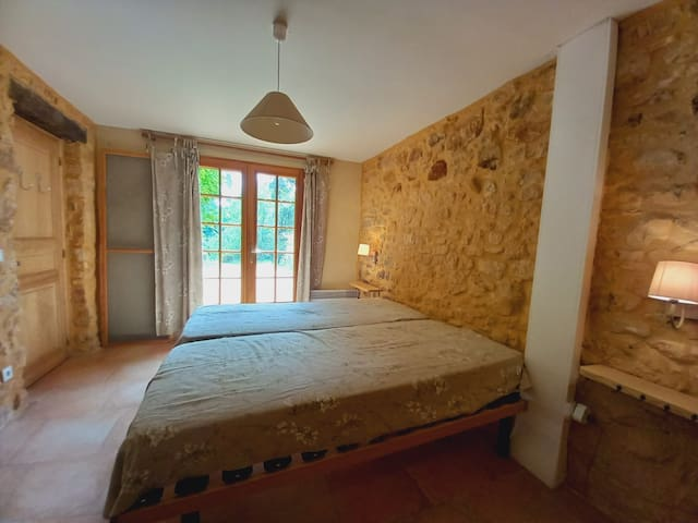 Chambre double (2 lits simples) au rez-de-chaussée avec salle-de-douche en suite